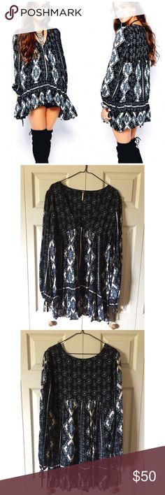 Free People Floral Drop-waist Tunic Free People floral drop-waist tunic. Size large. Like new condition, only worn once. Free People Tops Tunics