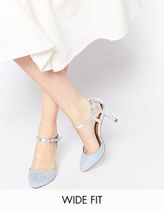 New Look - Quail - Chaussures a talons coupe large en deux parties - Bleu chez ASOS