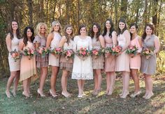 mismatching bridesmaids in neutral shades