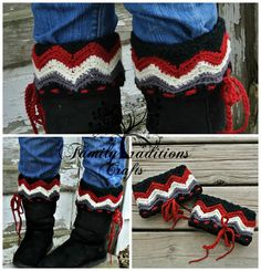 """Crochet Pattern: """"Chasing Chevrons"""" Boot Cuffs, Toddler thru Adult Large, Permission to Sell Finished Items Crochet Boots, Crochet Mittens, Crochet Yarn, Crochet Boot Cuff Pattern, Boot Cuffs, Wrist Warmers, Crochet Accessories, Mitten Gloves, Chevron"""
