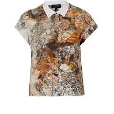 TOPSHOP Map Print Shirt ($70) ❤ liked on Polyvore featuring tops, blouses, shirts, topshop, multi, topshop tops, topshop blouses, shirt blouse, brown blouse and brown shirt