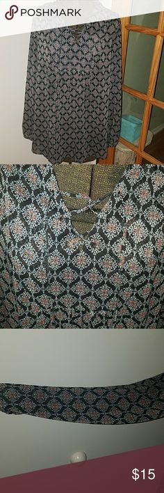 Mossimo sheer shirt Long sleeve v-neck  sheer shirt with a beautiful white blue and red pattern Mossimo Supply Co Tops