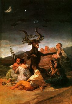"""Goya realizó la pintura de """"el Aquelarre"""" (1797-1798) para el palacio que los Duques de Osuna tenían en Madrid.Era un cuadro de tamaño pequeño (43x30cm),que formaba parte de una serie de 6,con unas medidas y temáticas similares,también existe otro cuadro de mayor formato llamado también Aquelarre o El Gran Cabrón(1829)que forma parte de las pinturas negras."""