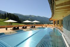 From yoga to hiking, experience the high life in the stunning Austrian Alps Hotels, Rooftop Pool, Das Hotel, Yoga, European Travel, Hiking, Sky, Places, Outdoor Decor
