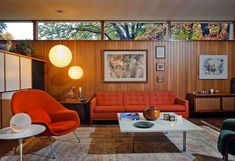 Robert Metcalf's Ann Arbor, Michigan home he designed for himself and completed in 1952. Aside from a nice collection of furniture like the Saarinen Womb chair and side table and the lovely Florence Knoll sofa, the most amazing aspect of this MCM gem is that even though it was built 60 years ago it met, and still meets, current LEED green building standards decades before anyone had even heard about sustainable architecture. Photo: Roy Ritchie