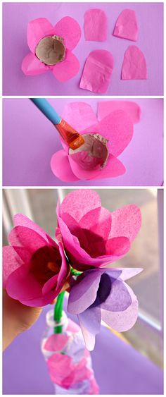 Tissue Paper & Egg Carton Tulips (Kids Spring Craft or Mother's Day Gift) Spring Crafts For Kids, Summer Crafts, Diy For Kids, Spring Activities, Craft Activities, Preschool Crafts, Kids Crafts, Craft Kids, Egg Carton Crafts