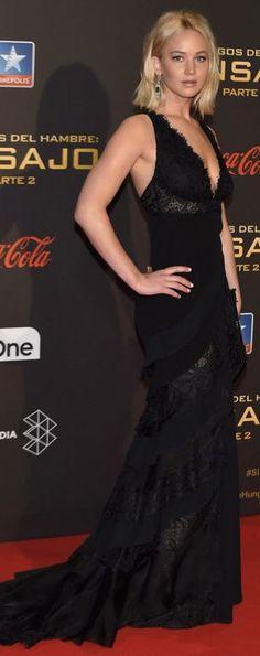Jennifer Lawrence in a black lace Ralph Lauren gown.