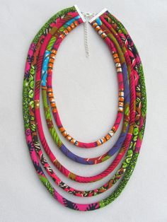 NEW !! , African fabric necklace,  fuchsia, green and mauve African wax print ,  Bohemian necklace, Tribal necklace, statement necklace,
