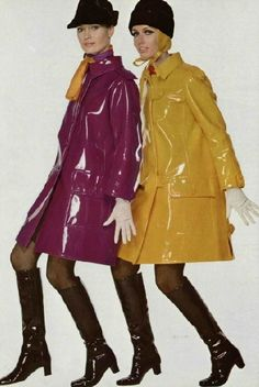 I love, love, LOVE the above photo!  Couldn't get more '60s if you tried!  The hats, scarves, raincoats, gloves tights and boots; each are little '60's fashion icons on their own.  I so want everything '60's as my wardrobe.  Getting there very slowly and expensively!