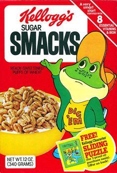 Kellogg's Sugar Smacks with Dig'em Retro Advertising, Vintage Advertisements, Vintage Ads, Vintage Food, My Childhood Memories, Childhood Toys, School Memories, Sweet Memories, Retro Recipes