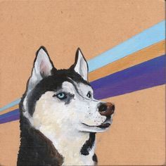 "Nancy Benton; Acrylic, 2012, Painting ""Siberian Huskie""  For some reason I rather like this, bad but good!"