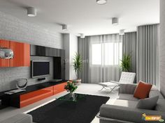 This modern living room is painted a soft grey with dark black chic furniture. The offset orange color leads the eye to the focal point of the room and adds an unexpected twist.  http://www.gharexpert.com/articles/paint-1647/paint-colors-living-room_0.aspx