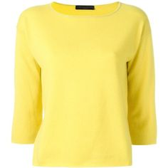 Fabiana Filippi boat neck jumper (30.265 RUB) ❤ liked on Polyvore featuring tops, sweaters, yellow, bateau neck sweater, bateau neckline tops, boat neck jumper, yellow cashmere sweater and bateau neck tops