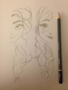 I took pencil to paper and drew Elsa and Anna, pretty chuffed with the outcome