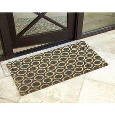 Gray geometric coir mat