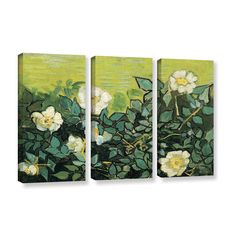 ArtWall 'Vincent VanGogh's Wild Roses' 3-piece Gallery Wrapped Set