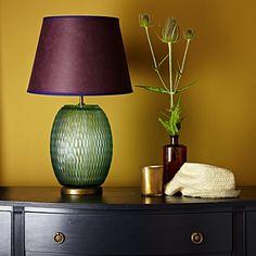 Salamander table lamp in eau de nil clear blown glass Table Lamps Pooky Lighting, London Apartment, Lounge, Room Color Schemes, Guest Bedrooms, Master Bedroom, Spare Room, Glass Table, Lamp Design