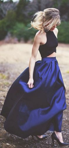 I love this modern take on formal evening wear! Could glam it up with diamond accessories.