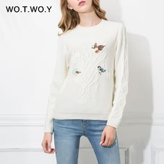 WOTWOY Animal Bird Embroidery Women Sweater And Pullovers Long Sleeve 2017 Autumn Winter Knitted Sweaters Casual Jumper Soft
