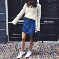 Denim skirt with white sweater #style #clothes