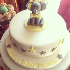 Elephant baby shower cake, yellow & grey baby shower, stars, gender neutral baby shower cake