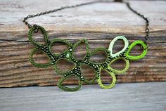 Bib Necklace in Shades of Green Beaded by LavenderField on Etsy, $42.00