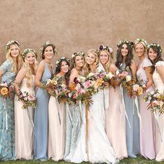 Bridesmaids' Floral Crowns Bridesmaid Dress Shades, Grey Bridesmaids, Mismatched Bridesmaid Dresses, Bridesmaid Flowers, Wedding Bridesmaid Dresses, Bridesmaid Color, Bohemian Bridesmaid, Bridesmaid Accessories, Photo Instagram
