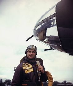 """""""B-26 Marauder bombardier - It was a custom for bomber crews to paint a bomb on their flight jacket for each mission they went on. The ducks painted on the jacket were for diversion."""
