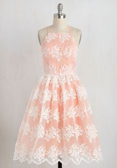 Flourish of Floridity Dress. In a fit of feeling fancy, you twirl into this feminine fit and flare and find a gala to attend! #pink #prom #modcloth