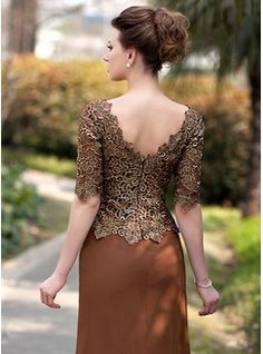 Trumpet/Mermaid V-neck Sweep Train Ruffle Beading Zipper Up Sleeves Sleeves No 2014 Brown General Plus Chiffon Lace Mother of the Bride Dress