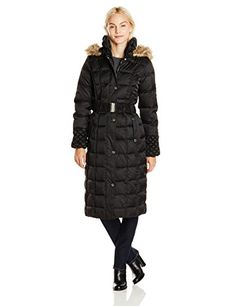 Betsey Johnson Womens Maxi Puffer Coat with Hood and Belt -- Check out this great product. (This is an affiliate link)