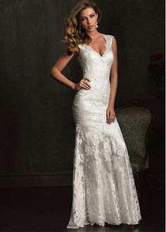 This dress is STUNNING! Low back, deep v, beautiful lace, great fit, classy and romantic.