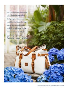Dooney Spring LookBook - Featuring the Florentine Double Strap Satchel (8L803) in White with Natural Trim (Page 7)