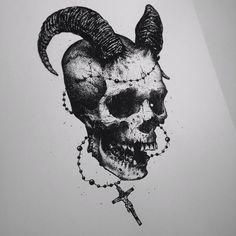 """""""Just for fun.  #skull #darkart #artwork #artfido #art #fineart #tattoo #pointillism #dotwork #design #satan #stippling #jesus"""""""