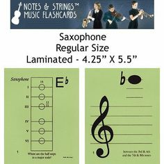 """Notes & Strings Saxophone 4.25""""X5.5"""" Regular Size Laminated Flashcards by Notes & Strings. $19.98. The mission of Notes & Strings is excellence in providing quality music education products to music students around the world. Notes & Strings Music Flashcards are very popular with music teachers, music students, and music stores. These flashcards help make the learning of music easy and fun. Deborah Spiegel, a Suzuki violin teacher, designed these note reading and fing..."""