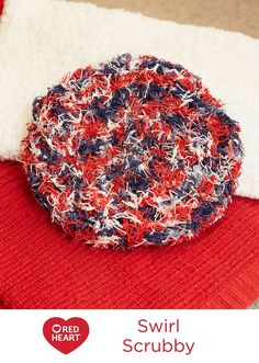 Swirl Scrubby Free Crochet Pattern in Red Heart Yarns -- Keep your skin exfoliated and feeling fresh with this round poufy Scrubby. You'll love that it dries quickly. One ball will give you enough yarn to crochet a couple more for your best friends!