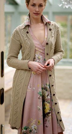 Free knitting pattern for Moss Stitch and Cable Coat by Debbie Bliss - #ad To…