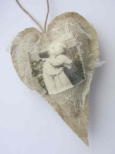 DECORATING WITH BURLAP AND LACE | Burlap Valentines Heart with fabric image and lace from Tinybeardk ...