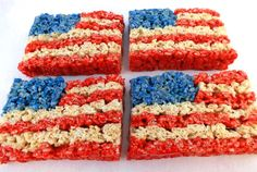 of July Rice Krispie Treats Recipe Patriotic Desserts, Blue Desserts, 4th Of July Desserts, Holiday Desserts, Holiday Fun, Holiday Recipes, Holiday Ideas, 4th Of July Celebration, 4th Of July Party