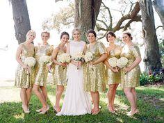 Gold Glitter Florida Wedding by Kt Crabb - Southern Weddings Gold Glitter Bridesmaid Dresses, Gold Bridesmaids, Best Party Dresses, Wedding Dresses, Dress Party, Florida, Glitter Wedding, Southern Weddings, Gold Dress