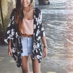 Super cute Kimono top with cropped tee and shorts. Perfect summer outfit!
