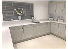 Grey Kitchen Designs, Kitchen Room Design, Home Decor Kitchen, Country Kitchen, Kitchen Interior, Home Kitchens, Grey Kitchens, Kitchen Cupboard Doors, Diy Kitchen Cabinets