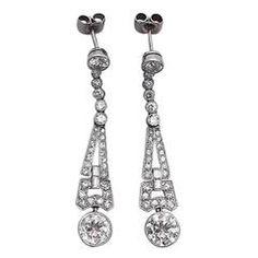 3.02 ct Diamond and Platinum Drop Earrings – Art Deco - Antique Circa 1920