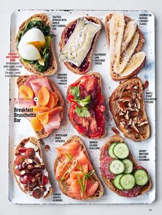 Breakfast Bruschetta Bar : Brotzeit Feed a houseful of hungry guests the easy way, without standing behind the griddle for hours. By letting them help themselves from a gorgeous selection that offers something for everyone. Bruschetta Bar, Healthy Snacks, Healthy Recipes, Healthy Brunch, Healthy Picnic Foods, Vegetarian Snacks, Healthy Protein, Healthy Breakfasts, Avocado Recipes