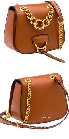 MiuMiu tan leather 2017 Discover this product and other MIU MIU bags now at www Hermes Handbags, Burberry Handbags, Fashion Handbags, Purses And Handbags, Fashion Bags, Leather Chain, Tan Leather, Leather Totes, Tooled Leather