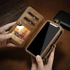 Floveme retro leather wallet phone bags cases for iphone 6 7 8 x case zi Iphone 7, Best Iphone, Iphone Cases, Iphone Leather Case, Iphone Wallet Case, Leather Wallet, Pu Leather, Iphone Models, Leather Handbags