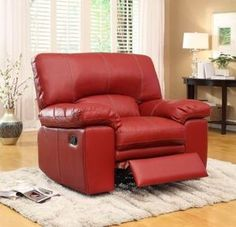 Homelegance 9611RED-1 Kendrick Glider Recliner Chair, Lava Red Bonded Leather