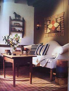 sofa, hook rug, countri charm, project idea, hous idea