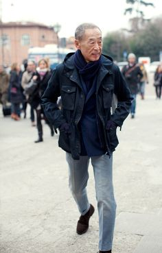 "Who says the aged can't be fashionable?  He's still got it!    ""On the Street... Faded, Creased, Cuffed Denim @ Pitti Uomo"""