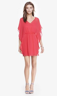Get the flowy feel of a kimono with this silky coral dress
